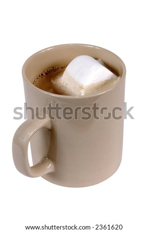 cup of hot chocolate with a marshmallow - stock photo