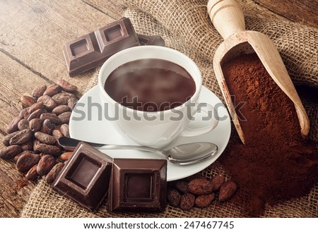Cup of hot chocolate with cocoa powder, cocoa beans and pieces of chocolate. - stock photo