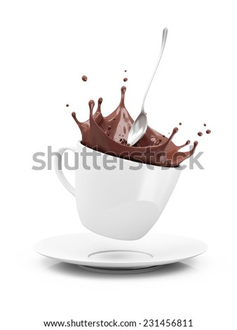 Cup of Hot Chocolate with Crown Splash isolated on white background - stock photo