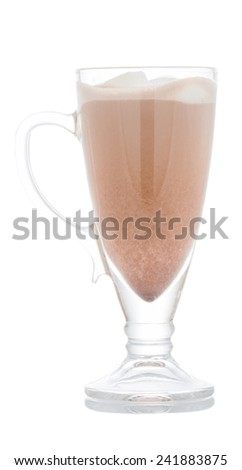Cup of hot chocolate with marshmallow isolated on white background - stock photo