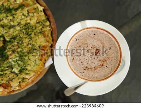 cup of hot chocolate with Pizza Japanese style in a cafe - stock photo
