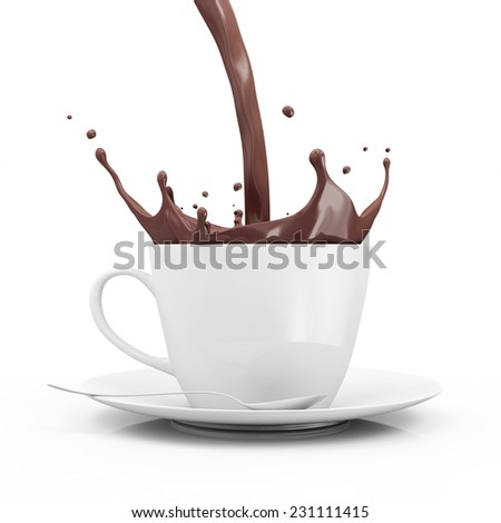 Cup of Hot Chocolate with Pouring Splash isolated on white background - stock photo