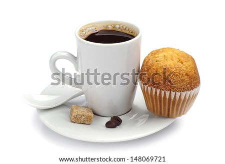 Cup of hot coffee and cupcake on white