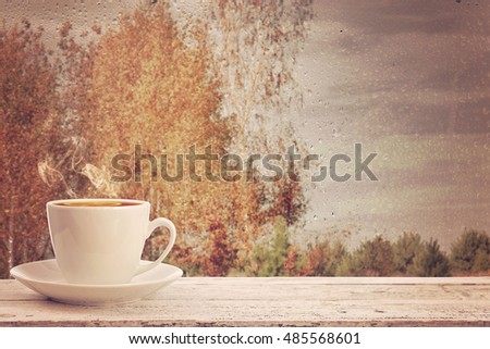 cup of hot tea on the background of the window with raindrops. Autumn time.
