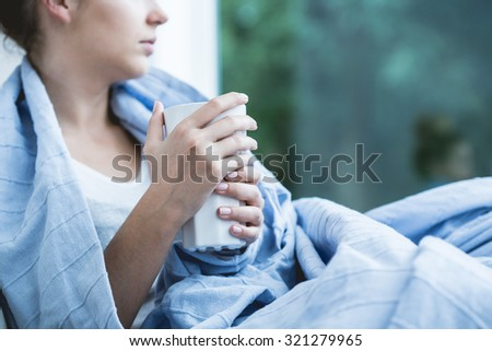 Cup of hot tea perfect for flu - stock photo