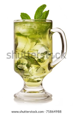 Cup of ice tea with mint on white background. - stock photo