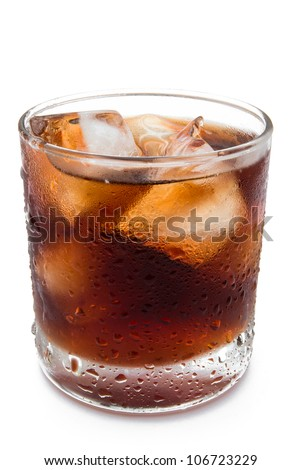 cup of iced cola with clipping path - stock photo