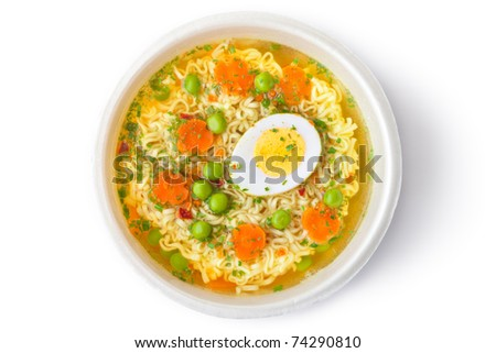 Cup of instant noodles with vegetables. Top view. Isolated on white. - stock photo