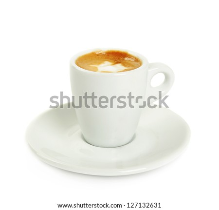 Cup of macchiato with cream isolated on white - stock photo