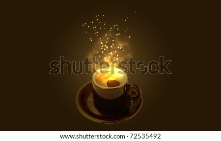 Cup of magic espresso on brown background - stock photo