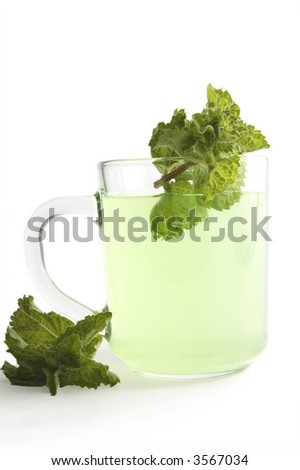 cup of mint tea  on white