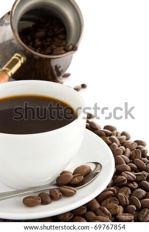 cup of of coffee, copper pot and beans on isolated white background - stock photo
