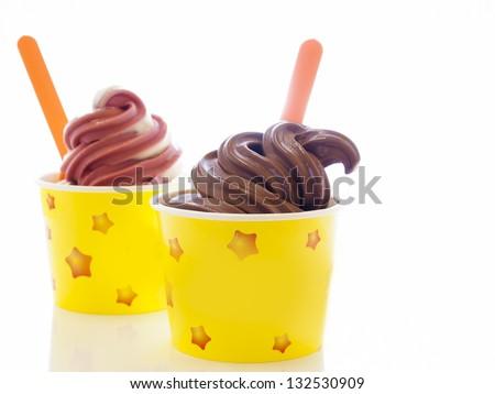 Cup of soft-serve frozen yogurt on white background. - stock photo