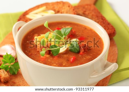 Cup of spicy soup with fried bread - stock photo