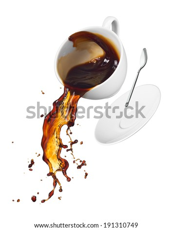cup of spilling black coffee with splash - stock photo