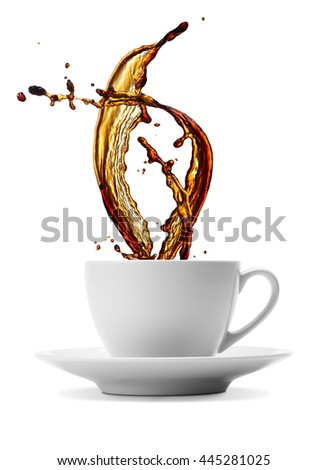 cup of splashing black coffee isolated on white - stock photo