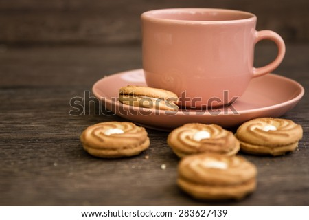 Cup of Tea and Biscuits - stock photo