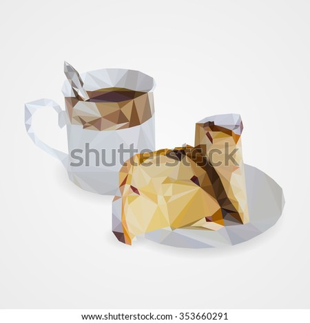 Cup of tea and cake on saucer  in the style of triangulation on a grey background. - stock photo