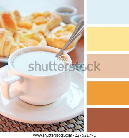 cup of tea and cakes on the table.  colour palette swatches. pastel hues - stock photo
