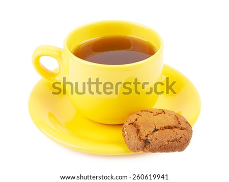 Cup of tea and chocolate cookies on a white background isolated - stock photo