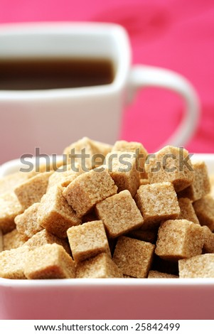 cup of tea and close-ups of brown sugar - food and drink