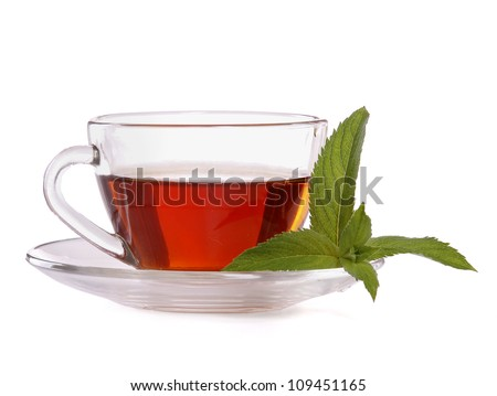 Cup of tea and mint, isolated on white background - stock photo