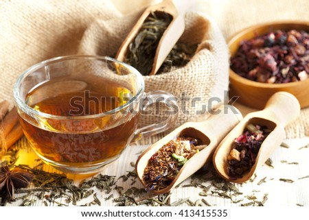Cup of tea and mix of assorted tea leaves