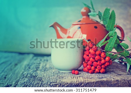 cup of tea and rowan berry on a wooden table