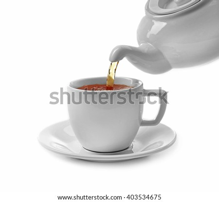 Cup of tea and teapot, isolated on white - stock photo