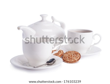 cup of tea and teapot  isolated on white background - stock photo