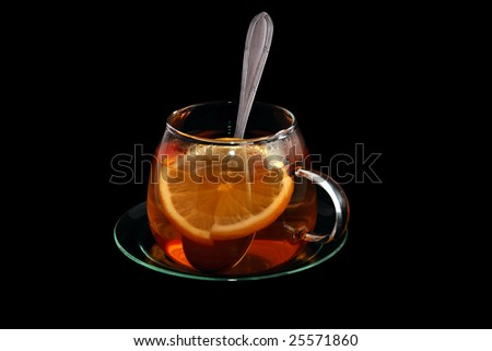 Cup of tea black background