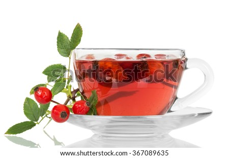 Cup of tea from a dogrose isolated on white background - stock photo
