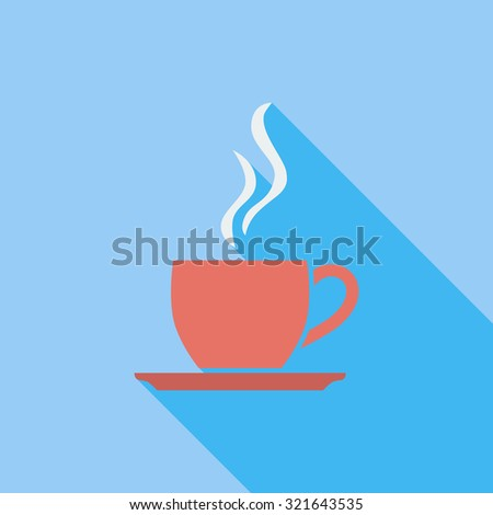 Cup of tea icon. Flat related icon with long shadow for web and mobile applications. It can be used as - logo, pictogram, icon, infographic element. Illustration. - stock photo