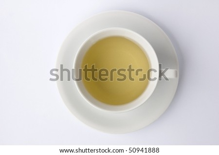 cup of tea isolated on white background from above - stock photo