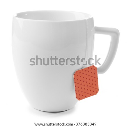 Cup of tea isolated on white background. Teabag with red dotted label - stock photo