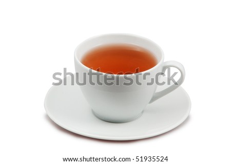 cup of tea  isolated on white with clipping path - stock photo