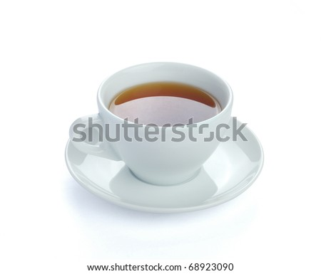 Cup of tea, isolated on white with path. - stock photo