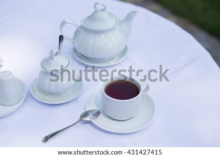 Cup of tea on a table - stock photo