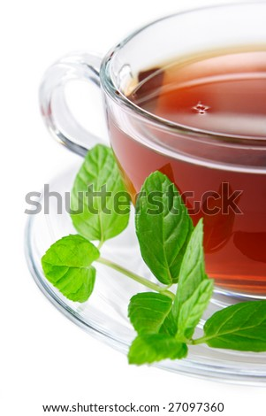 Cup of tea on a white background - stock photo