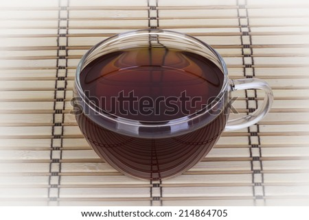 cup of tea on a wooden background - stock photo