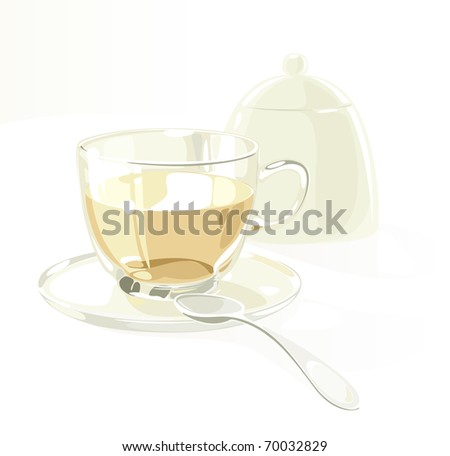 Cup of tea on saucer with spoon and teapot. Raster version. Vector version is also available. - stock photo