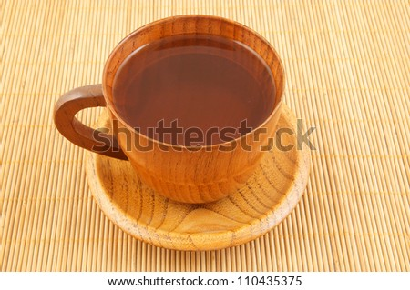 Cup of tea on wooden background - stock photo
