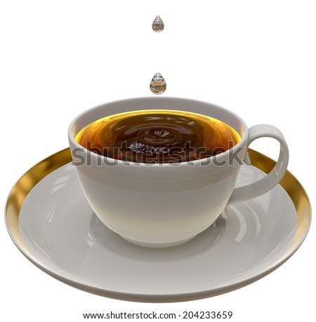 Cup of tea or coffee on a saucer on white background - stock photo