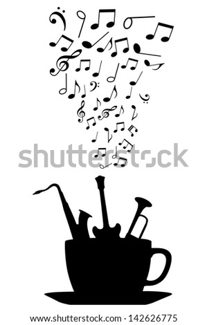 Cup of tea or coffee with musical instruments and notes. Jpeg version also available in gallery - stock photo