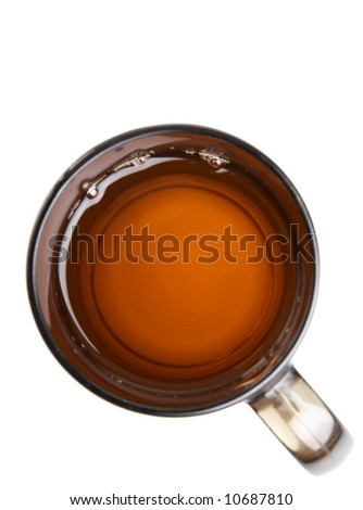 Cup of tea over white - stock photo