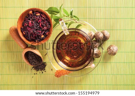 Cup of tea shot from upper view - stock photo