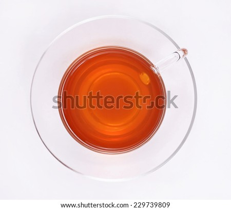 Cup of tea, top view - stock photo