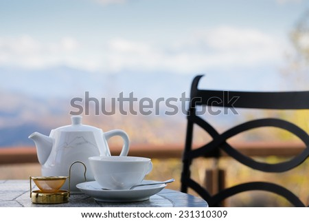 Cup of tea with a mountain view - stock photo