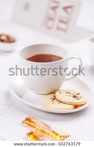 Cup of tea with biscuits, 5 o'clock tea