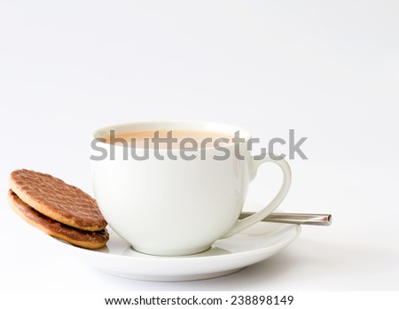 Cup of tea with chocolate biscuits